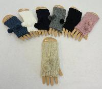 Knitted Hand Warmers [Cable Knit with PomPoms]